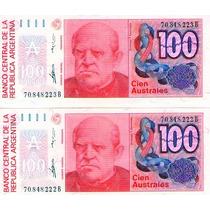 Antiguo Lote 2 Billetes 100 Australes S/c Uno 6 Dedos Nuevo
