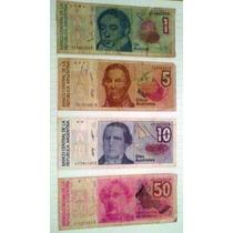 Lote 4 Billetes Argentina 1, 5, 10 Y 50 Australes