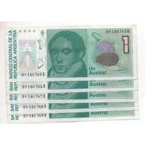 Lote 5 Billetes 1 Austral Correl. Bottero 2804 Cd 4203