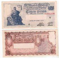 Billete 5 Pesos Progreso Numeros Rojos Bottero 1866excelente