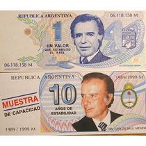 Lote De 2 Billetes Pesos Menem Truchos 1995 1999