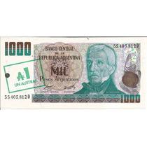 Billete $ 1000 Pesos Argentinos Resellado 1 Austral