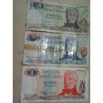3 Billetes Antiguos 1-10-50 Pesos Argentinos, Los 3 A $40,00