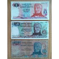 Lote De 3 Billetes 1, 50 Y 100 Pesos Argentinos