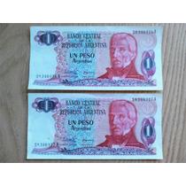 2 Billetes 1 Peso Argentino Correlativos Unc Sin Circular!!