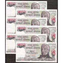 Argentina Billete De 10 Pesos Argentinosl X 6 Correlativos