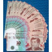 5 Billetes S/ Circular Correlativos Belgrano 10 Pesos Nuevos