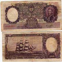 Billete 1000 Pesos Fragata Bot: 2129 Serie A Numeros Rojos