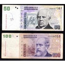 Lote Billetes 50, 100 Pesos Tiradas Cortas Bottero 3629 3716