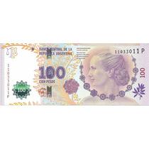Billete Arg. $100 Conv Capicua N° 110 33 011 S/circ Palermo