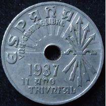 España Moneda De 25 Centimos Año 1937