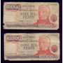 Argentina Lote De 2 Billetes 10000 Pesos Ley 18188 Serie G