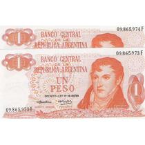 2 Billetes 1 Peso Ley 18.188/69 Correlativos