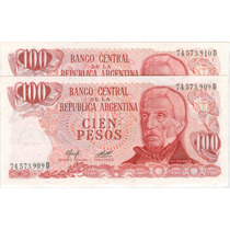 Argentina Billetes $ 100 Ley 18188 Correlativos