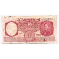Argentina Billete De 10 Pesos Moneda Nacional Bottero 1942 !