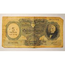 Billete Antiguo 500 Pesos Sellado 5 Pesos Ley 18.188