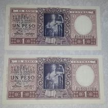 2 Billetes Un Peso Moneda Nacional - Correlativos