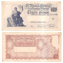 Billete Argentina 5 Pesos M / N 1959 Bot 1876