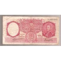 Argentina Billete De 10 Pesos Moneda Nacional Bottero 1936