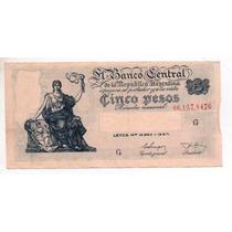 5 Pesos M/n Bottero 1868 Año 1955 M/b+ Cd 4093