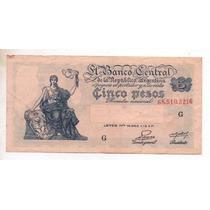 5 Pesos M/n Bottero 1866 Año 1954 M/b+ Cd 4096