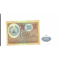 Liquido Excelente Billete De Tajikistan 100 Som 1994 Unc
