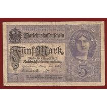 1º Guerra Alemania 1917 Billete 5 Marcos Usado