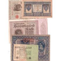 Lote 5 Billetes Antiguos, 3 Alemania, 1 Austria Y 1 De Rusia