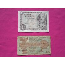 Billetes Una Peseta Republica Española 1937 Y Otro De 1948