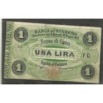 Billete Banca De San Remo 1 Lira 1873