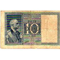 Antiguo Billete De ** Italia ** 10 Liras Año 1935