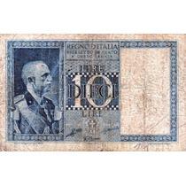 Billete De Italia - 10 Liras - 1935 - En Mendoza