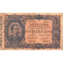 Billete De Italia - 10 Liras - 1881 - En Mendoza