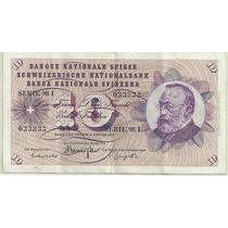 Billete Suiza 10 Francos Año 1977 Excelente