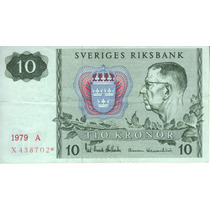 Suecia Reposición Billete De 10 Kronor 1979 Pick 52 - Vf++
