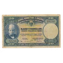 Albania Billete De 20 Francos De Oro Año 1926