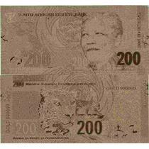Replica Billete 200 Rand Sudafrica Bañado En Oro 24 Kt