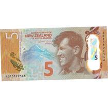 Billete Nueva Zelanda 5 Dolares Año 2015 Plastico Pinguino