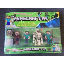 Minecraft Muñecos Set X 4 Personajes + Accesorio +arma