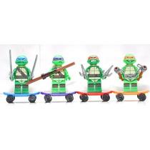 Lego Tortugas Ninjas Simil X 4 Personajes Incluye *patinetas