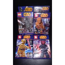 Minifiguras Star Wars:pack X 4 Darth Vader, C3po, Maul, Chew