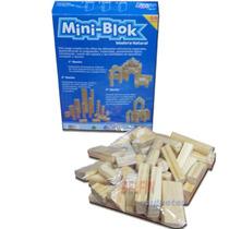 Mini Blok Bloques De Madera Natural Para Armar 55 Piezas