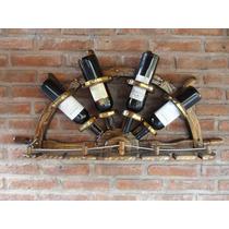 Bodega Medio Timón De Madera 4 Botellas, Decoración