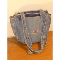Bolso Tela Jean,marca Nasa,color Azul,bolsillo,como Nuevo