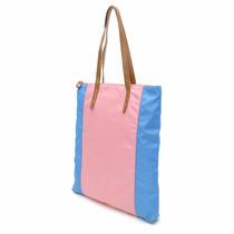 Bolsa Shopping Combinada Rosa Y Azul Brandy