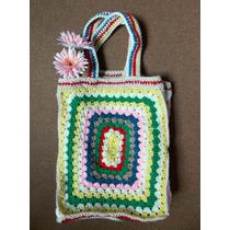 Bolso Tejido Al Crochet - Tipo Playero O De Compras