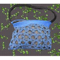 Cartera - Bolso Tejido Crochet Con Forro