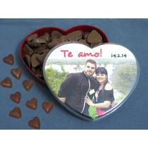 Caja Corazón Personalizada Con Mini Corazones De Chocolate