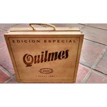 Cerveza Quilmes: Caja De Madera Con 4 Botellas, De Colección