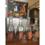 Juego De 4 Botellones Vidrio Tallado C/base De Cuero Labrado